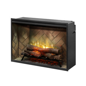 "Dimplex Revillusion 36"" Landscape Built-In Electric Log Firebox - Crackle Fireplaces"