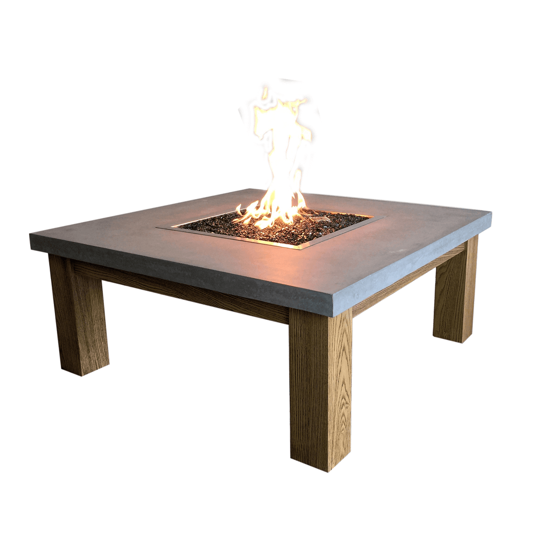 Fire pit table with a concrete top and wooden legs