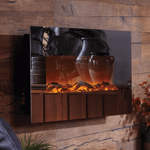 "Touchstone 50"" Mirror Onyx Wall Mounted Fireplace - Crackle Fireplaces"