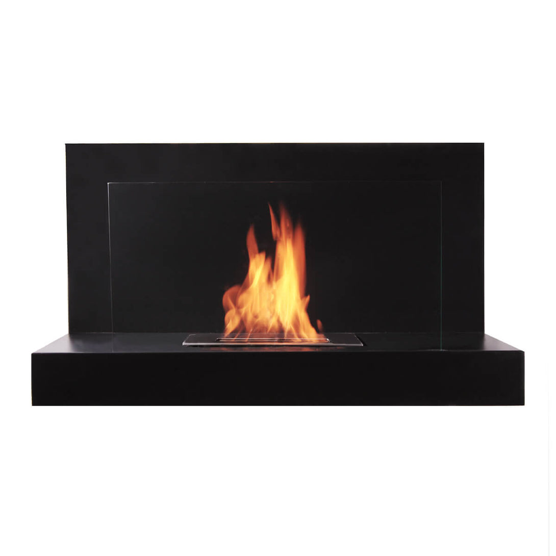 Black wall mounted fireplace with glass barrier
