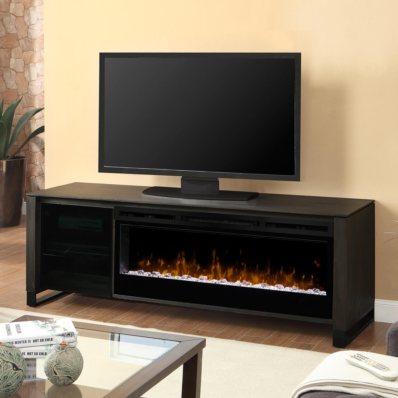 tvmedia media center dimplex walnut products deerhurst console electric efca fireplace accessories finishes burnished