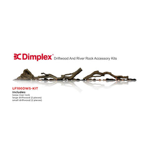 "Dimplex Driftwood & River Rock Accessory Kit for 100"" Electric Fireplaces - Crackle Fireplaces"
