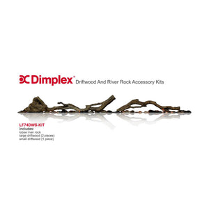 "Dimplex Driftwood & River Rock Accessory Kit for 74"" Electric Fireplaces - Crackle Fireplaces"