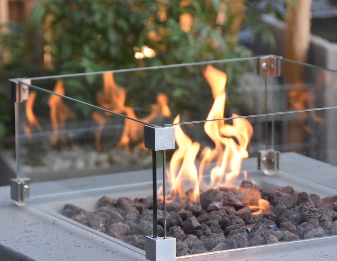 Elementi Manhattan Fire Table Windscreen - Crackle Fireplaces