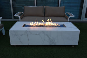 "Elementi ""Carrara"" Marble Porcelain Fire Table- Natural Gas - Crackle Fireplaces"