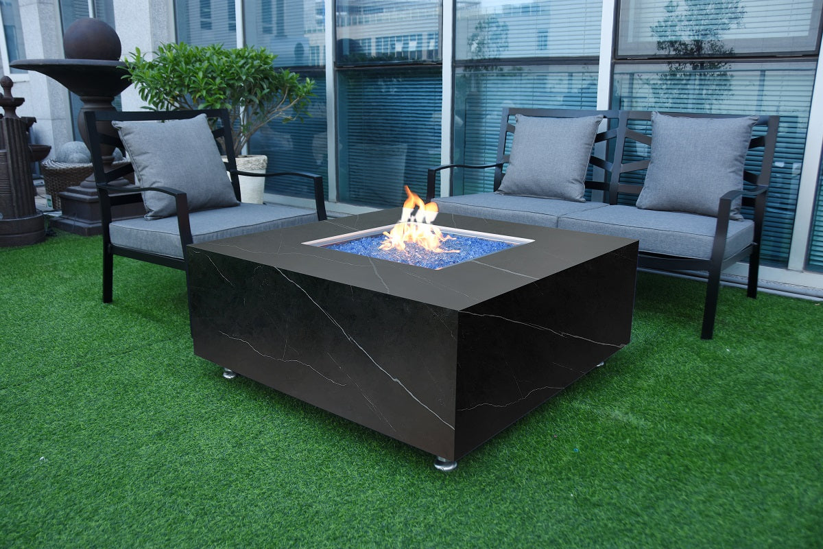 Elementi Sofia Marble Porcelain Fire Table- Natural Gas - Crackle Fireplaces