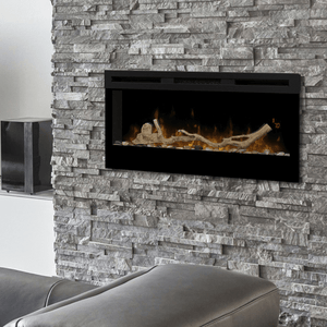 "Dimplex Prism 34"" Wall Mounted Linear Electric Fireplace - Crackle Fireplaces"