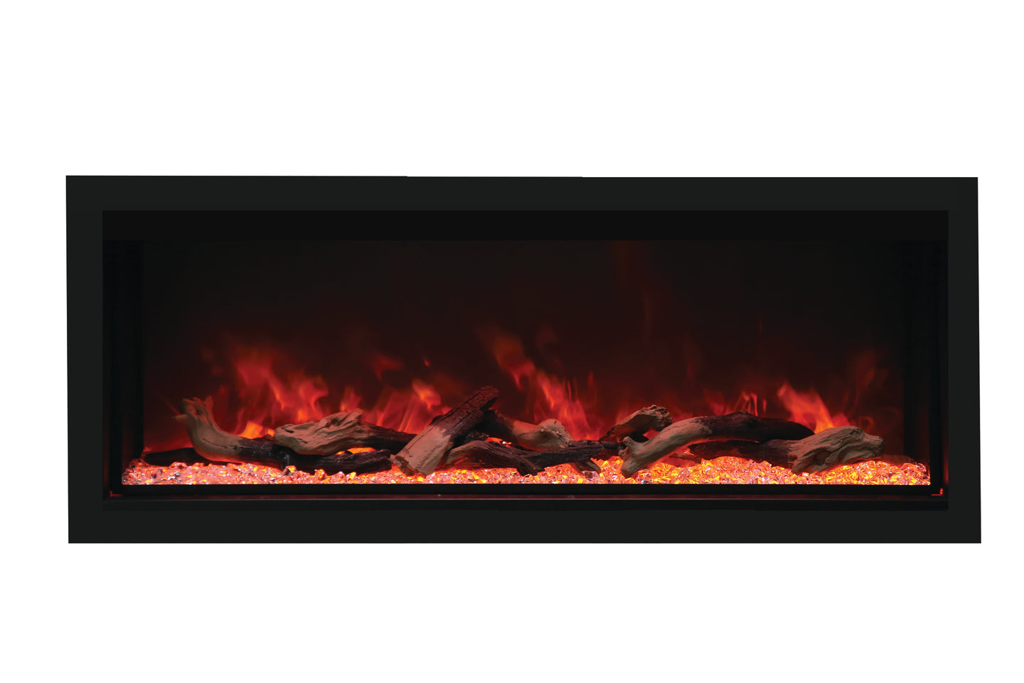 Remi 55″ Wide & 18″ High – Indoor or Outdoor, Built-in only, Electric Fireplace with black steel surround - Crackle Fireplaces