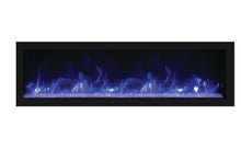 Remi 55″ Wide & 12″ Deep Indoor or Outdoor Built-in only Electric Fireplace with black steel surround - Crackle Fireplaces