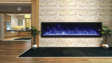 Remi 65″ Deep and Extra Slim Indoor or Outdoor  Built-in only Electric Fireplace with black steel surround - Crackle Fireplaces