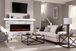 "Touchstone Sideline Elite 60"" Recessed Electric Fireplace - Crackle Fireplaces"