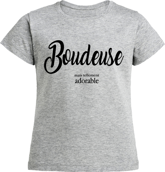 T-shirt Fille BIO Boudeuse mais tellement adorable | C mon T-shirt