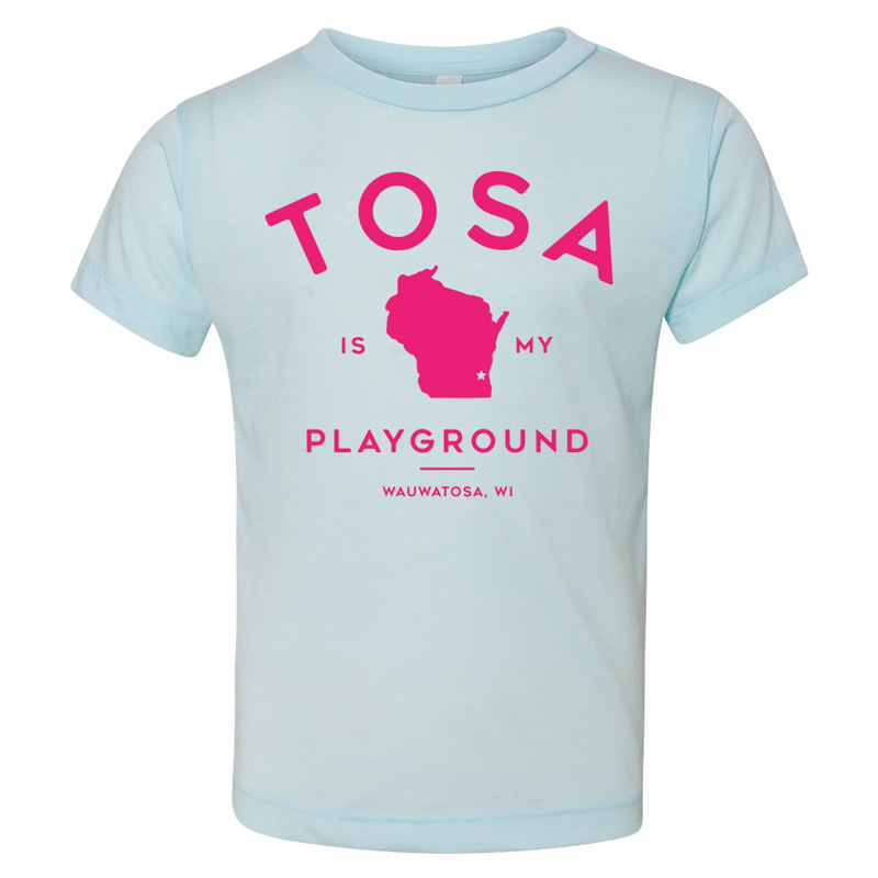 The Wauwatosa Standard Ice Blue & Electric Pink Toddler Triblend Tee - GILTEE
