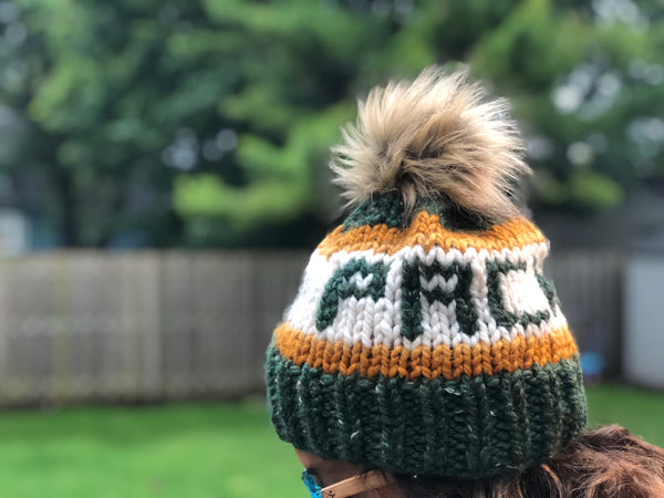 Packers Knitted Hat with Fur Pom - Green & Gold - GILTEE