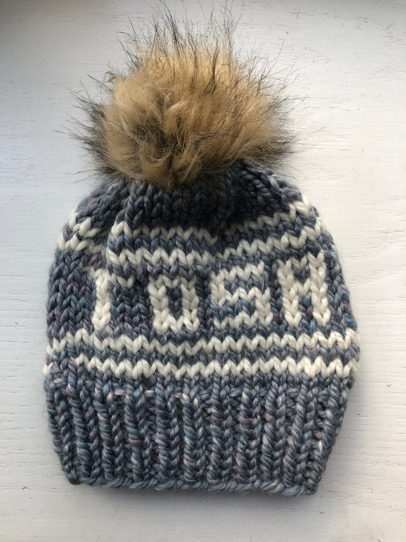 Tosa Knitted Hat with Fur Pom - Storm