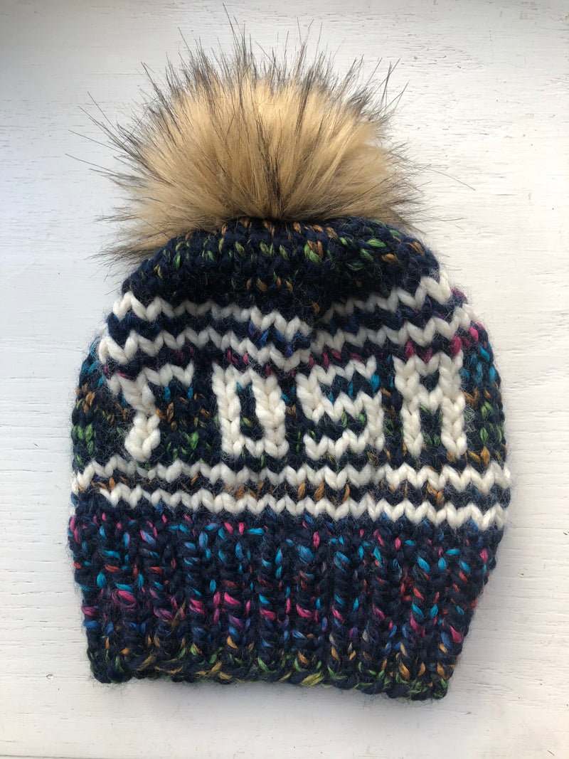 Tosa Knitted Hat with Fur Pom - City Lights