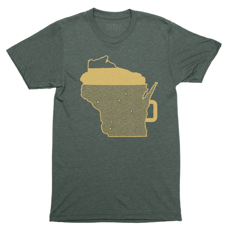The Beer Mug Green & Gold Unisex Triblend Tee - GILTEE