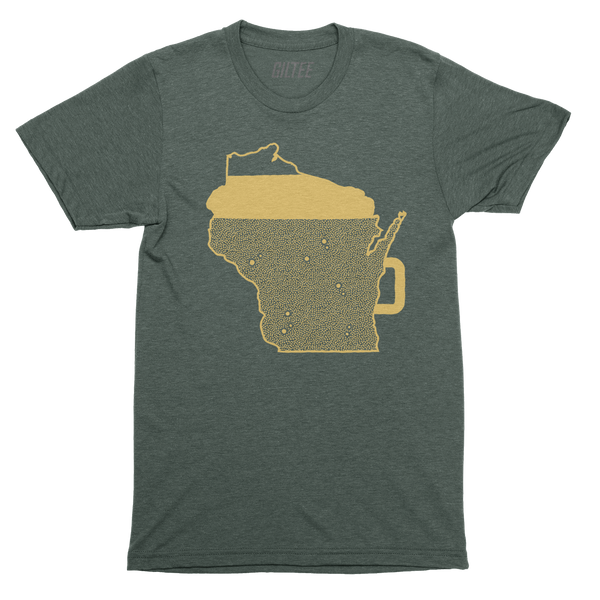 The Beer Mug Green & Gold Unisex Triblend Tee