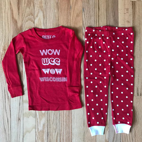 Wow Wee Wow Wisconsin Infant & Toddler Pajamas - Red & White - GILTEE