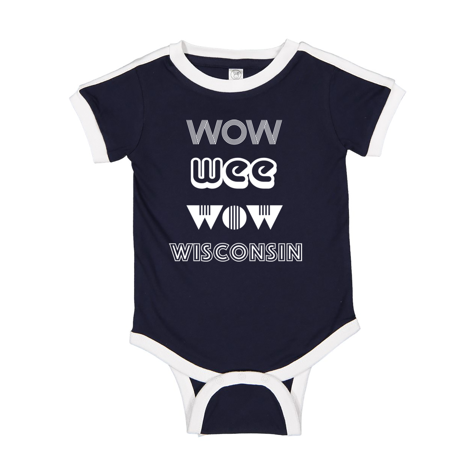 Wow Wee Wow Wisconsin Ringer Onesie - Navy & White