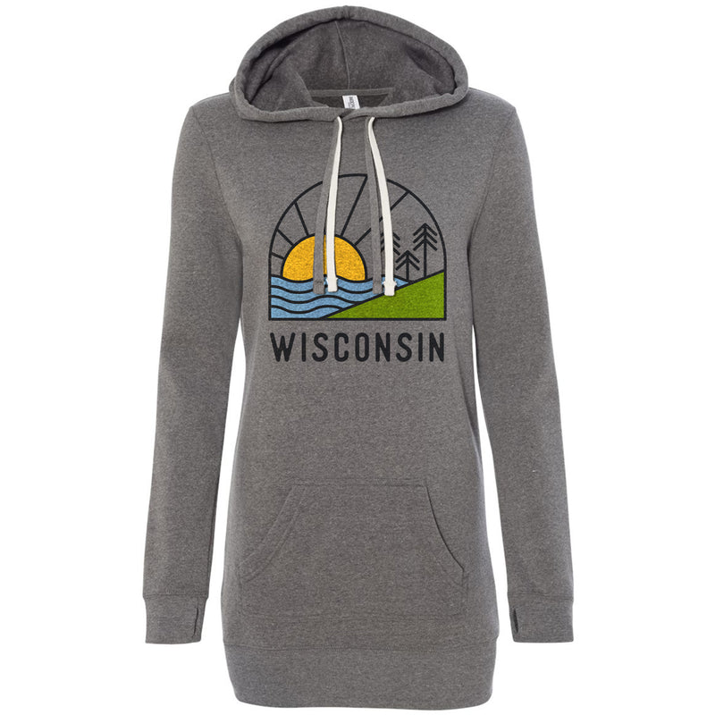 The Aurora - Women's Grey Hooded Pullover Dress - GILTEE