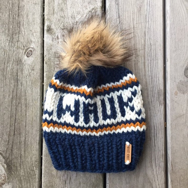 Milwaukee Knitted Hat with Fur Pom - Blue - GILTEE