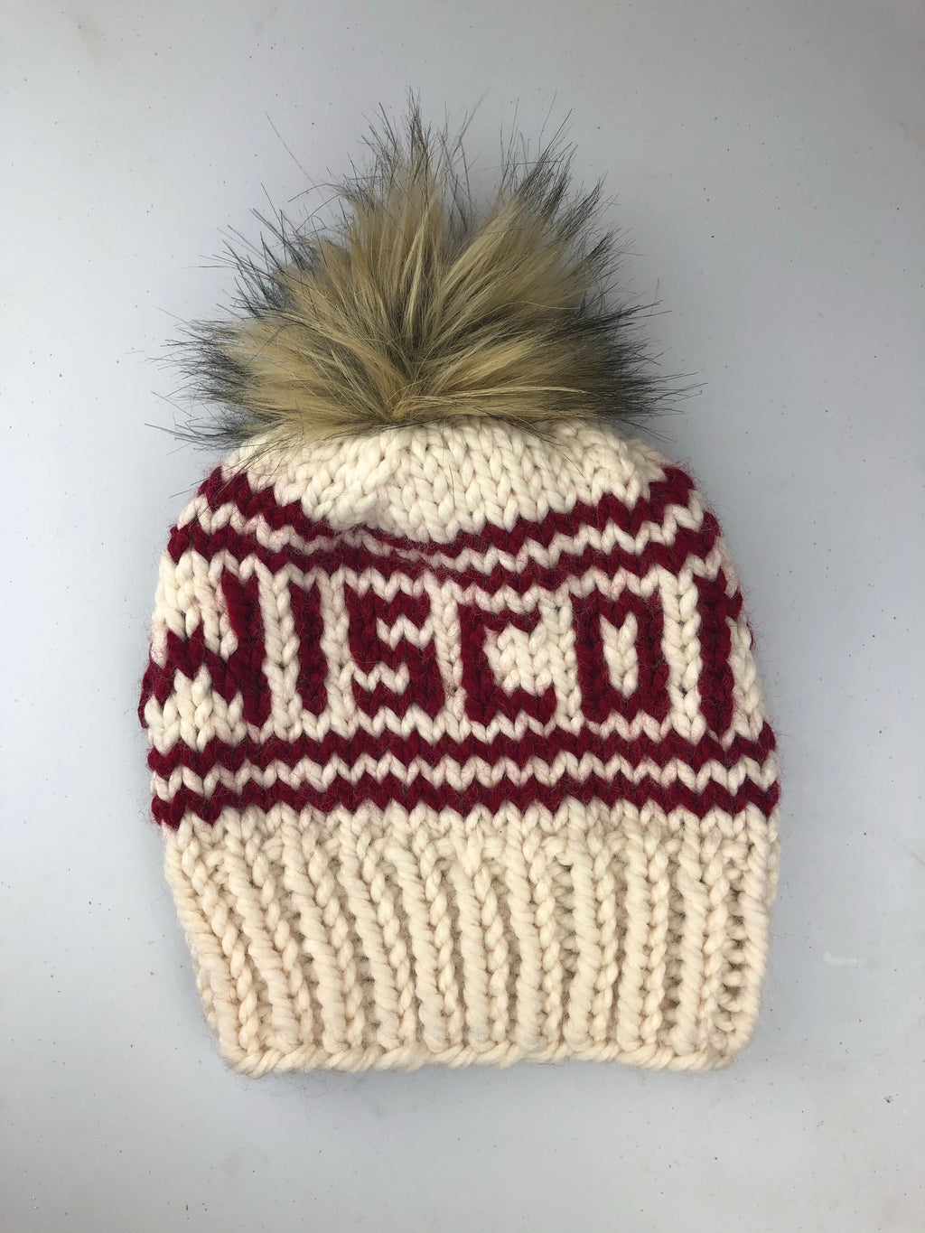 Wisconsin Knitted Hat with Fur Pom - Ivory - GILTEE