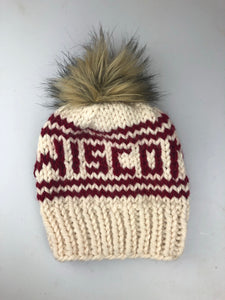 Wisconsin Knitted Hat with Fur Pom - Ivory