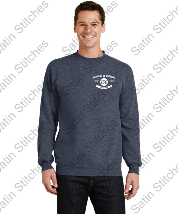 Crew Neck Sweatshirt with Riverside Susquicentennial Logo