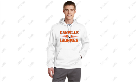 Unisex White Performance Hoodie with Soccer Print