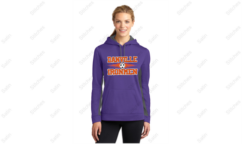 Ladies 2 Color Purple/Gray Performance Hoodie with Soccer Print