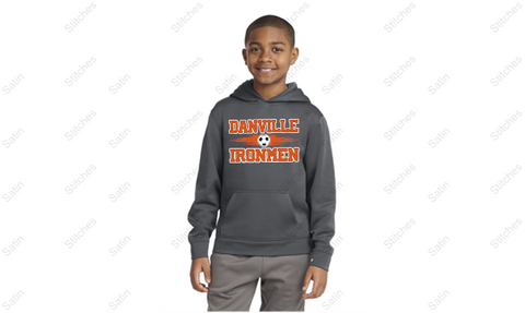 Youth Gray Performance Hoodie with Soccer Print