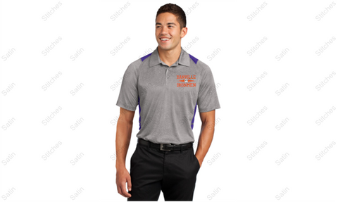 Unisex Gray/Purple Performance Polo with Stitched Left Chest