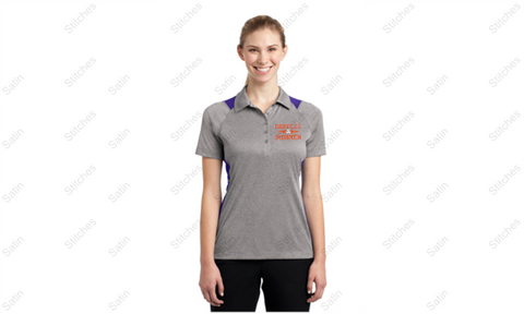 Ladies Gray/Purple Performance Polo with Stitched Left Chest