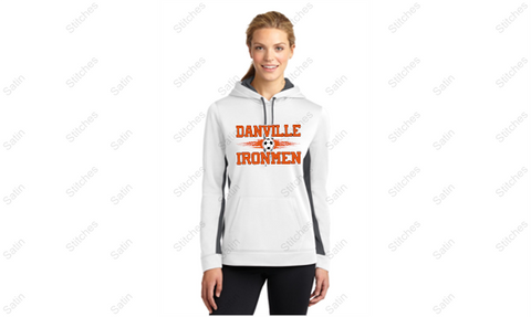 Ladies 2 Color White/Gray Performance Hoodie with Soccer Print
