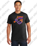 Black T-Shirt with full size 3 color printed band logo