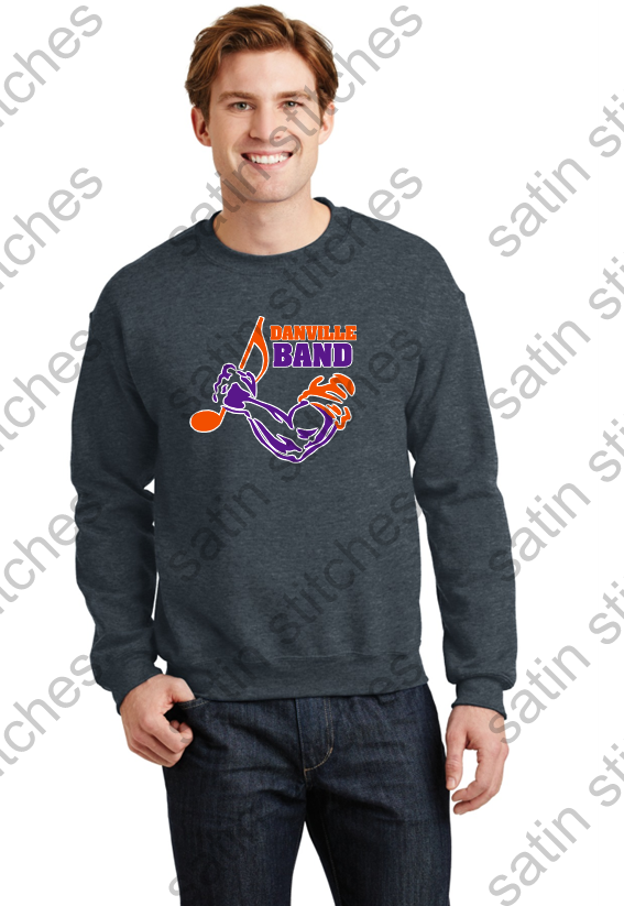 Dark Heather, crew neck sweatshirt, with full front printed band logo