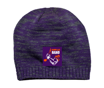 Space dyed purple and gray beanie with band logo