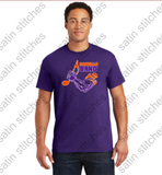 Purple t-shirt with 3 color, full front, band logo