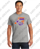Sport gray t-shirt with 3 color full front band logo