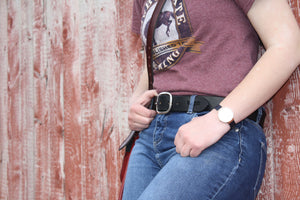 "English Bridle Belt - Midnight Black 1.25"" Wide"