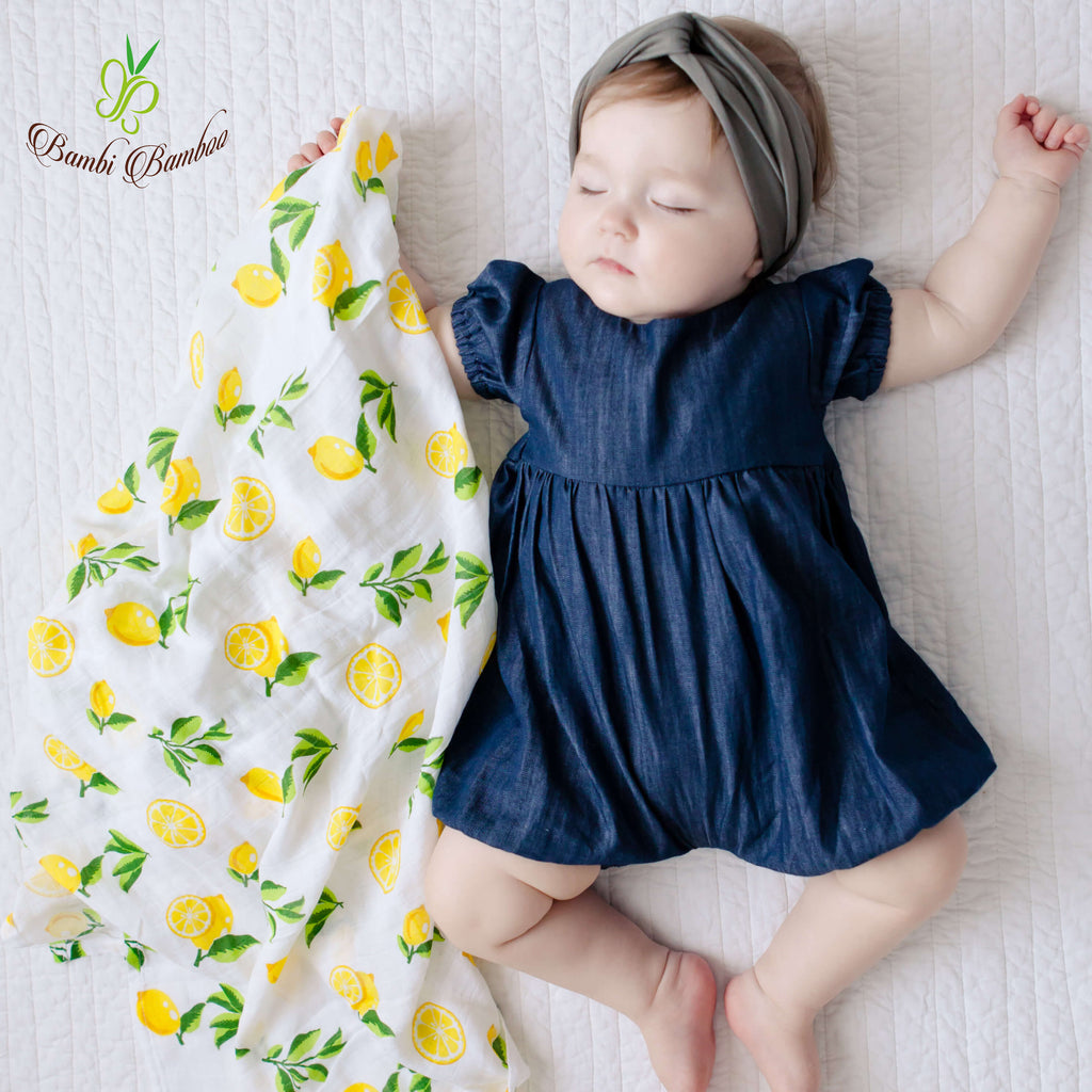 Bamboo Muslin Swaddle Blanket Strawberry Lemon