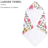 Baby Bamboo Hooded Towel, Double Layers of Muslin & Terry, Floral Print