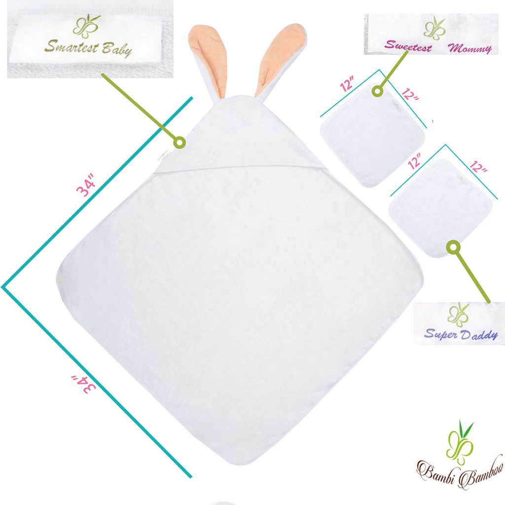 Baby Bamboo Hooded Towel & 2 Washcloths, Amber Bunny design
