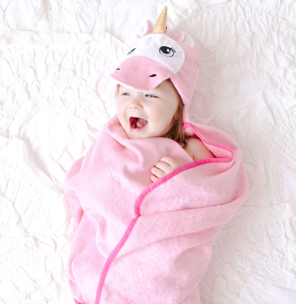 Bamboo Pink Unicorn Hooded Towel