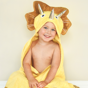Bamboo Yellow Dinosaur Hooded Towel