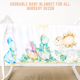 Bamboo Minky Baby Blanket - Double Layers - Dinosaurs - You Are My Sunshine