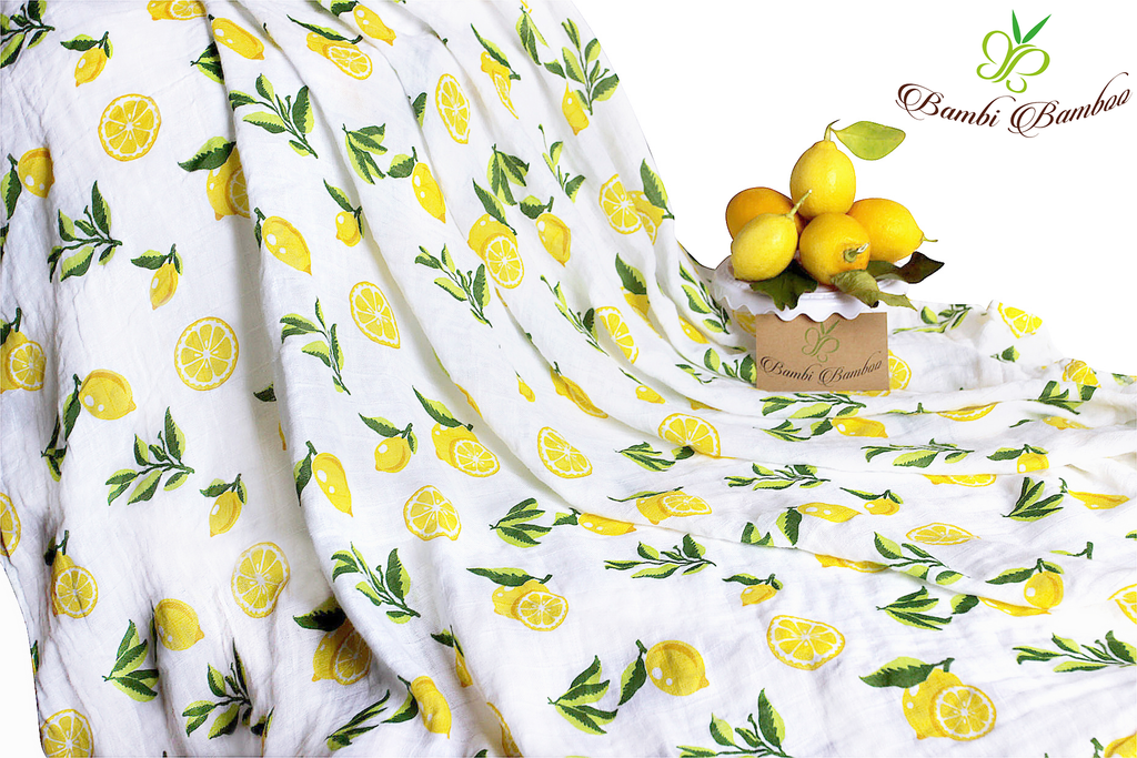 Baby Swaddle Blanket Set of 2, Softest Bamboo Muslin in Lemon and Strawberry Prints