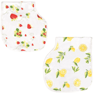 Bamboo Cotton Muslin 3-in-1 Burp Cloths Bibs Pacifier Ties, Set of 2