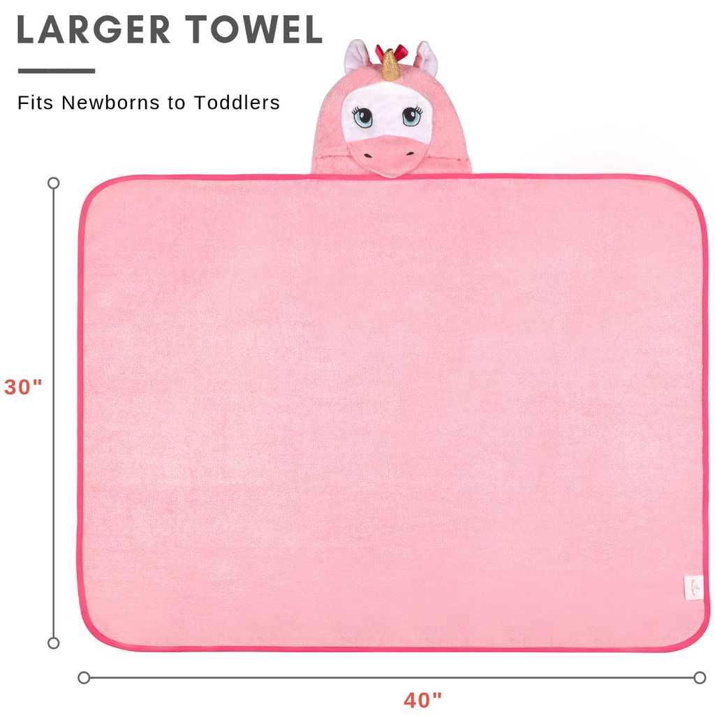 pink unicorn baby toddler towel with hood